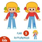 Find differences, Girl in overalls. Find differences, education game for children, Girl in overalls Stock Photo
