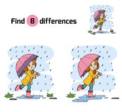 Find differences. Girl running with an umbrella in the rain. Find differences for children, education game. Girl running with an umbrella in the rain Stock Photo