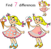 Find  differences girl. Find  differences - small pretty girl with ice cream vector and cartoon illustrations Royalty Free Stock Photography