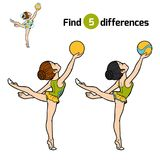 Find differences, The gymnast with a ball. Find differences, education game for children, The gymnast with a ball Royalty Free Stock Photo