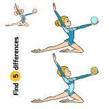 Find differences, The gymnast with a ball. Find differences, education game for children, The gymnast with a ball Stock Images