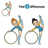 Find differences, The gymnast with a hoop. Find differences, education game for children, The gymnast with a hoop Stock Image