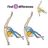 Find differences, The gymnast and juggling clubs. Find differences, education game for children, The gymnast and juggling clubs Stock Image