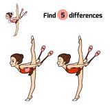 Find differences, The gymnast and juggling clubs. Find differences, education game for children, The gymnast and juggling clubs Stock Photo