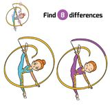 Find differences, The gymnast with a ribbon. Find differences, education game for children, The gymnast with a ribbon Royalty Free Stock Photography