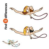 Find differences, The gymnast with a rope. Find differences, education game for children, The gymnast with a rope Royalty Free Stock Image