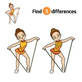 Find differences, The gymnast with a rope. Find differences, education game for children, The gymnast with a rope Stock Images