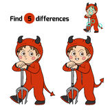 Find differences: Halloween character (devil) Royalty Free Stock Photography