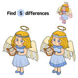 Find differences: Halloween characters (angel costume). Find differences, game for children: Halloween characters (angel costume Royalty Free Stock Photos