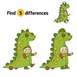 Find differences: Halloween characters (dinosaur costume). Find differences, game for children: Halloween characters (dinosaur costume Stock Image