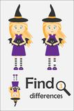 Find 3 differences, halloween game for children, witch in cartoon style, education game for kids, preschool worksheet activity, ta royalty free illustration