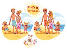 Find the 10 differences. Happy family on vacation. Summer recreation. Funny cartoon character. Vector illustration.  on white background Stock Photography
