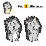 Find differences, Hedgehog. Find differences, education game for children, Hedgehog Royalty Free Stock Photos
