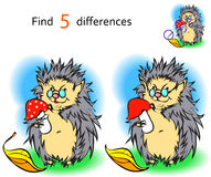 Find 3 differences hedgehog. Vector and cartoon illustrations Stock Image