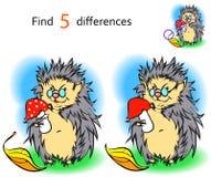 Find 3 differences hedgehog Stock Image