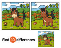 Find differences (horse and background). Find differences, education game for children (horse and background Stock Photography