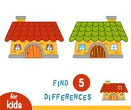 Find differences, House. Find differences, education game for children, House Royalty Free Stock Image