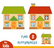 Find differences, House. Find differences, education game for children, House Stock Image