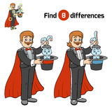 Find differences, Illusionist. Find differences, education game for children, Illusionist Royalty Free Stock Photography