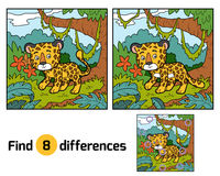 Find differences, Jaguar. Find differences education game for children, Jaguar Stock Images