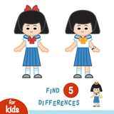 Find differences, Japanese schoolgirl. Find differences, education game for children, Japanese schoolgirl Royalty Free Stock Image