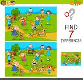 Find differences with kids and dogs characters. Cartoon Illustration of Finding Seven Differences Between Pictures Educational Activity Game for Kids with Happy Royalty Free Stock Photography