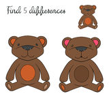 Find differences kids layout for game bear Stock Photography