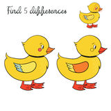 Find differences kids layout for game duck. Cartoon hand drawn doodle vector illustration Stock Images
