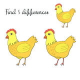 Find differences kids layout for game hen chicken. Cartoon doodle hand drawn vector illustration Royalty Free Stock Photos