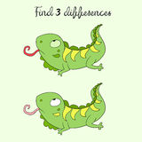 Find differences kids layout for game iguana. Doodle hand drawn  vector illustration Royalty Free Stock Photos
