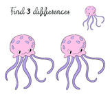Find differences kids layout for game jellyfish. Doodle cartoon hand drawn vector illustration Stock Photography