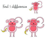 Find differences kids layout for game monkey. Cartoon hand drawn doodle vector illustration Royalty Free Stock Photography