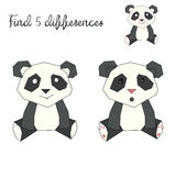 Find differences kids layout for game panda bear. Cartoon hand drawn doodle vector illustration Royalty Free Stock Image