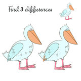 Find differences kids layout for game pelican. Cartoon hand drawn doodle vector illustration Royalty Free Stock Photo