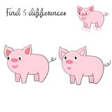 Find differences kids layout for game pig. Doodle hand drawn cartoon vector illustration Stock Images