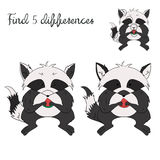 Find differences kids layout for game raccoon. Doodle cartoon hand drawn  vector illustration Royalty Free Stock Images