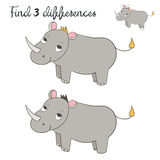 Find differences kids layout for game rhino. Hand drawn doodle cartoon vector illustration Stock Illustration