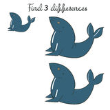 Find differences kids layout for game seal. Doodle hand drawn cartoon vector illustration Stock Photos