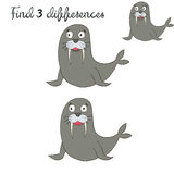 Find differences kids layout for game seal. Doodle hand drawn cartoon vector illustration Royalty Free Stock Images
