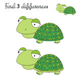 Find differences kids layout for game turtle. Tortoise cartoon doodle hand drawn vector illustration Stock Photo
