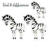Find differences kids layout for game zebra. Cartoon doodle hand drawn vector illustration Stock Images