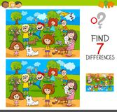 Find differences with kids and pets characters. Cartoon Illustration of Finding Seven Differences Between Pictures Educational Activity Game for Kids with Stock Images