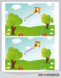 Find 10 Differences - Kite (Vector). Find 10 Differences - Landscape with kite, meadow, trees, flowers and insect Royalty Free Stock Images