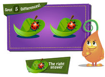 Find 3 differences ladybird. Visual Game for children. Task: find 3 differences Stock Photos