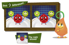 Find 9 differences ladybird. Visual Game for children. Task: find 9 differences Royalty Free Stock Images