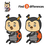 Find differences, Ladybug. Find differences, education game for children, Ladybug Royalty Free Stock Photography