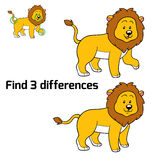 Find 3 differences (lion). Game for children: Find 3 differences (lion Stock Photo