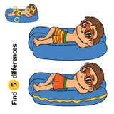 Find differences. Little boy on lying inflatable mattress Stock Image