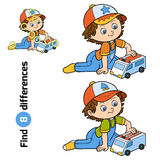 Find differences. Little boy plays with ambulance car. Find differences, education game for children. Little boy plays with ambulance car Royalty Free Stock Image