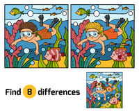 Find differences. Little boy swimming in the sea. Find differences, education game for children. Little boy swimming in the sea Stock Photography